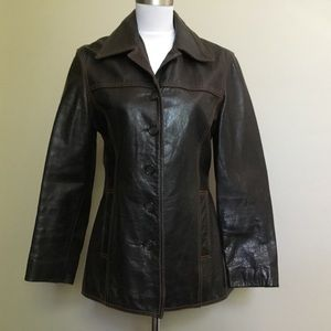WILSONS Maxima brown distressed leather jacket S